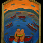 Small Fish, Many Boats : 33x24 : Oil on Wood / Gold Leaf Frame - Sold
